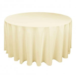 "120"" Round Table Cloth Polyester Cream"