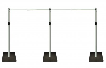 Telescopic 3m x 6m (20ft x 10ft) free standing Backdrop Stand, Pipe and Drape system -Black Bases