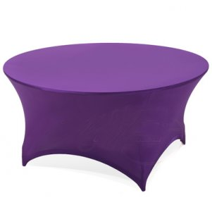 Purple Spandex Round Table Cover 6ft