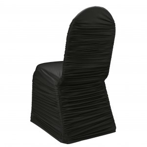 Ruched Chair Covers Without Diamante Buckle Black