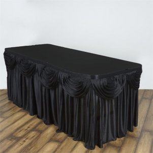 1 Trestle/Cake Black Silk Skirts With Swags (10ft)