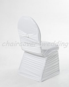 Ruched Chair Covers With Diamante Buckle-White