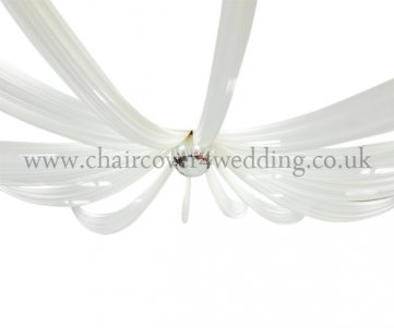 10meter  4-Panel Voile Sheer Fabric Ceiling Draping White