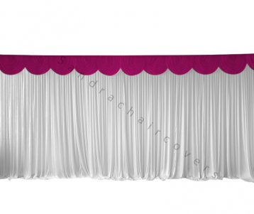 6M Pleated White Wedding Backdrop Curtain with Fuchsia Swag