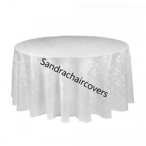 "120"" Round Table Cloths Ivy Leaf White"