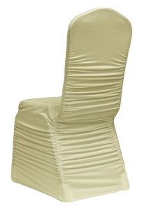 Ruched Chair Covers Without Diamante Buckle Ivory