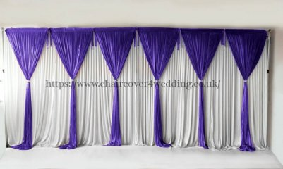 6 Panel Detachable Purple Grecian Overlay for Wedding Backdrop-1M X 3M EACH