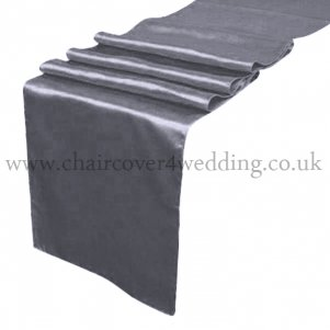 Dark Silver Satin Runner