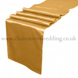 Gold-Bright Gold Satin Runner