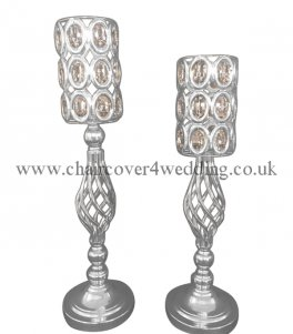 SWIRL CRYSTAL CANDLE HOLDER 62CM - SILVER