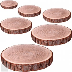25cm - 30cm Natural Wood Log Slice Tree Bark Rustic Wedding Table Centerpiece Cake Stand