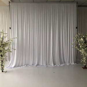 3M x 3M White Pleated Backdrop Curtain