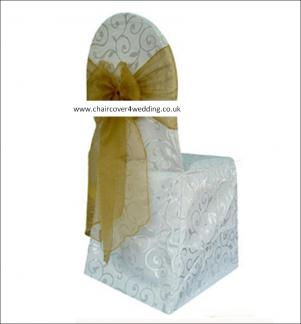 Jacquard Polycotton Chair Cover White or Ivory