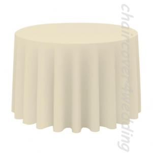 "120"" Round Table Cloth Polyester Ivory"