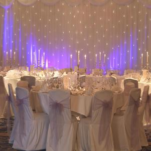 Starlight Backdrop with Top Table Skirts and Cake Skirt (6m x 3m)