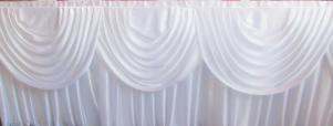 3 Trestle (22ft) Silk  Top Table Skirts With Swags White