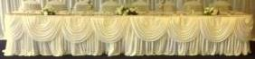 1 Trestle/Cake Ivory Silk Skirts With Swags (10ft)