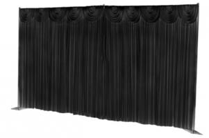 Silk Backdrop Curtain with swags (6m x 3m) BLACK-With Swag