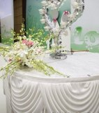1 Trestle/Cake Silk  Top Table Skirts With Swags White (10ft  W x 0.75M Drop)