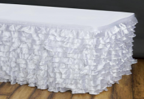 14FT Satin Ruffle Pleated Table Skirts - White