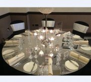 Wedding Rounded Acrylic Mirror Table Tops-72inch- Double Coloured- Silver /Gold