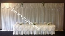 Silk Backdrop Curtain with swags (4m wide x 3m drop) White