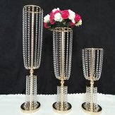 Table Top Crystal Wedding Chandelier Stand Centerpiece-100CM H* D25cm-Gold