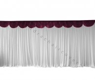 6M Pleated White Wedding Backdrop Curtain with Burgundy Swag