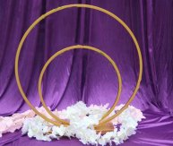 Double wedding flower arches round metal arch for table centerpieces decorations-D55CM + 40CM
