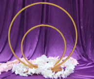 Double wedding flower arches round metal arch for table centerpiece decorations-D80CM + 60CM