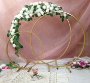 Gold Metal Table Hoop Flower Stand Table 50cm