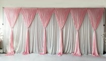 6 Panel Detachable Pink Grecian Overlay for Wedding Backdrop-1M X 3M EACH