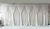 Panel Detachable White Grecian Overlay for Wedding Backdrop -Chiffon--1M X 3M EACH