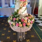 Glass Crystal Chandelier Style Drape Suspended Swing Cake Stand Centerpiece-60CM Diameter