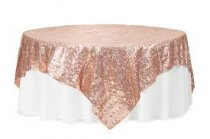 Rose Gold Sequin Table Cloth 260CM Round
