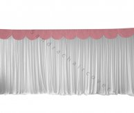 6M Pleated White Wedding Backdrop Curtain with Dusty Pink Swag