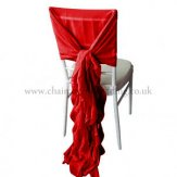 CHIFFON HOOD WITH RUFFLES RED