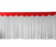 6M Pleated White Wedding Backdrop Curtain with Red Swag