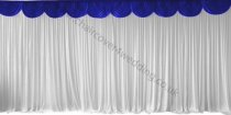6M Pleated White Wedding Backdrop Curtain with Royal Blue Swag