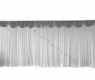 6M Pleated White Wedding Backdrop Curtain with Silver Swag