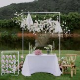 WEDDINGGENERAL SQUARE 2.1M X 2.1M Wedding Arch Door Background Iron Flower Stand