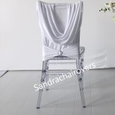 Ruched Chair Cover Skirt With Diamante Buckle-White