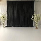 3M x 4M Black Pleated Backdrop Curtain