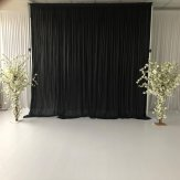 9M x 3M Black Pleated Backdrop Curtain