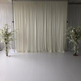 6M x 3M Ivory Pleated Backdrop Curtain
