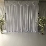 White Silk Wedding Backdrop with swags and lights (6m x 3m)