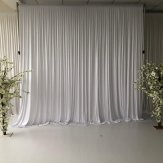 6M x 3M White Pleated Backdrop Curtain