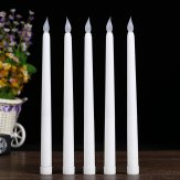 Set of 8 Battery Operated Flickering LED Wax Taper Candles for Wedding Christmas