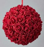 25cm SILK ROSE FLOWER BALL POMANDER BALL RED