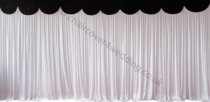 6M Pleated White Wedding Backdrop Curtain with Black Swag